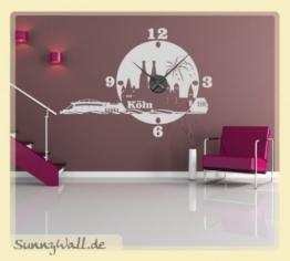 Wandtattoo Uhr KARLSSON Skyline Köln Wanduhr Stadt Farbe: Hellrosa - 1