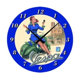 "Wanduhr FORME VESPA, ""Vespa Girl"", blau, rund, Ø 320mm - 1"