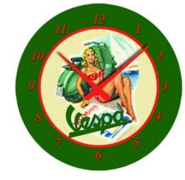 "Wanduhr FORME VESPA, ""Vespa Girl"", grün, rund, Ø 320mm - 1"