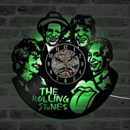 Mcolk Wanduhr Vinyl Cd Led Wanduhr The Rolling Stone Band Uhren Sieben Farben Ändern Modernes Design Schallplatte Wand Wohnkultur - 1