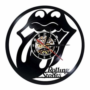 Schallplatte Wanduhr Modernes Design Musikthema The Rolling Stone Band Hängeuhren Vintage Wanduhr Wohnkultur Stumm - 1
