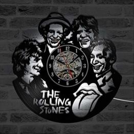 WCZZH Cd Led Wanduhr The Rolling Stone Band Klassische Uhren Sieben Farben Ändern Modernes Design Schallplatte Wanduhr Home Decor 12 Zoll - 1