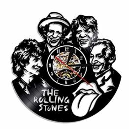 YUN Clock@ The Rolling Stones Wanduhr aus Vinyl Schallplattenuhr Upcycling 3D Design-Uhr Wand-Deko Vintage Familien Zimmer Dekoration Kunst Geschenk, Durchmesser 30 cm - 1